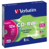 Verbatim CD-RW DL 700MB/80min. 8x-12x, colors, slim box, 5ks