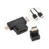 GoGEN HDMI 1.4, 1,5m, pozlacený + L adaptér + adaptér HDMI micro / HDMI mini
