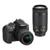 Nikon D3400 + AF-P 18-55 VR + 70-300 VR + 4x čiště...