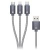 Connect IT Wirez 3in1 USB/USB-C + MicroUSB + Lightning, 1,2m