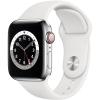 Apple GPS + Cellular, 40mm stříbrné pouzdro z nerezové oceli - bílý sportovní náramek