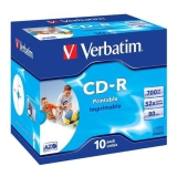 Verbatim Printable CD-R DLP 700MB/80min. 52x, jewel box, 10ks