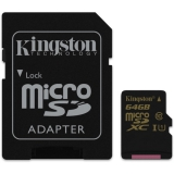 Kingston MicroSDXC 64GB UHS-I U1 (90R/45W) + adapter