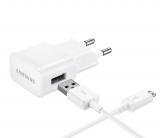 Samsung EP-TA20EWE, 1x USB, 2A s funkcí rychlonabíjení + MicroUSB kabel (bulk) bílá