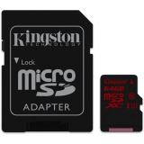 Kingston MicroSDHC 64GB UHS-I U3 (90R/80W) + adapter