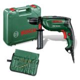 Bosch PSB 750 RCE, příklepová + sada 19 ks příslušenství zelená