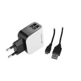 GoGEN ACH 201 C, 2x USB + microUSB kabel 1,2m černá/bílá