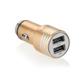 GoGEN kovový bezpečnostní hrot, 2x USB zlatý