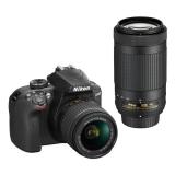 Nikon D3400 + AF-P 18-55 VR + 70-300 VR + 4x čištění čipu zdarma černý