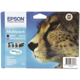 Epson T0715, 3x 6ml, 1x 7ml - originální černá/červená/modrá/žlutá