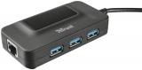 Trust USB 3.0 / 3x USB 3.0 + LAN černý