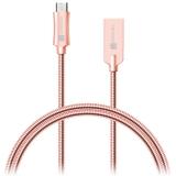 Connect IT Wirez Steel Knight USB/micro USB, ocelový, opletený, 1m růžový/zlatý