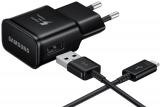 Samsung EP-TA20EBE, 1x USB, 2A s funkcí rychlonabíjení + USB-C kabel černá