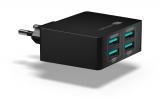 Connect IT Fast Charge 4x USB, 4,8A s funkcí rychlonabíjení černá