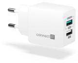 Connect IT Fast Charge 2x USB, 3,4A s funkcí rychlonabíjení bílá