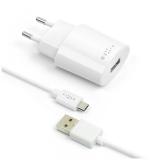 FIXED 1x USB, 2,4A + micro USB kabel bílá