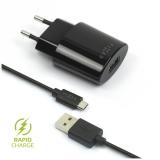 FIXED 1x USB, 2,4A + micro USB kabel černá