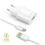 FIXED 1x USB, 2,4A + USB-C kabel bílá