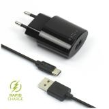 FIXED 1x USB, 2,4A + USB-C kabel černá