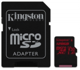 Kingston Canvas React microSDXC 128GB UHS-I U3 (100R/80W) + adaptér