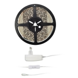 Solight 4,8 W/m, teplá bílá 3000K, 5m, adaptér s vypínačem