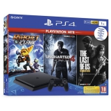 Sony PlayStation 4 1TB + The Last Of Us +Uncharted 4 + Ratchet & Clank černý