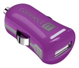 Connect IT InCarz COLORZ, 1x USB, 2,1A (V2) fialový