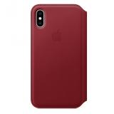 Apple Leather Folio pro iPhone Xs - (PRODUCT)RED červené