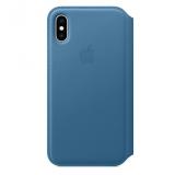 Apple Leather Folio pro iPhone Xs - modrošedé