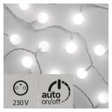 EMOS 40 LED světelný řetěz – kuličky 2,5cm, 4m, studená bílá, časovač