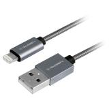 GoGEN USB / lightning, 1m, ocelový, opletený titanium