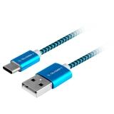GoGEN USB / USB-C, 1m, opletený modrý