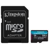 Kingston Canvas Go! Plus MicroSDXC 64GB UHS-I U3 (170R/70W) + adaptér
