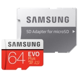 Samsung Micro SDXC EVO+ 64GB Class 10 UHS-I (R100/W20) + SD adaptér