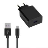 WG 1xUSB, QC 3.0, 22,5W + USB-C kabel černá