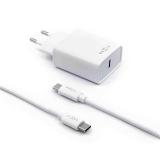 FIXED USB-C PD, 18W + USB-C kabel 1m bílá