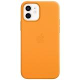 Apple Leather Case s MagSafe pro iPhone 12 a 12 Pro - měsíčkově oranžový