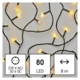 EMOS 80 LED řetěz, 8 m, venkovní i vnitřní, teplá bílá, časovač