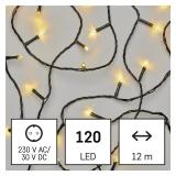 EMOS 120 LED řetěz, 12 m, venkovní i vnitřní, teplá bílá, časovač