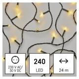 EMOS 240 LED řetěz, 24 m, venkovní i vnitřní, teplá bílá, časovač