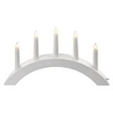 EMOS svícen na 5x žárovičku E10 dřevěný bílý, oblouk, 20x38 cm, vnitřní, teplá bílá