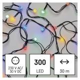 EMOS 300 LED cherry řetěz - kuličky, 30 m, venkovní i vnitřní, multicolor, časovač
