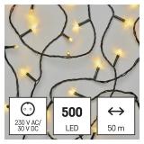 EMOS 500 LED řetěz, 50 m, venkovní i vnitřní, teplá bílá, časovač