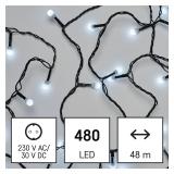 EMOS 480 LED cherry řetěz - kuličky, 48 m, venkovní i vnitřní, studená bílá, časovač