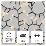 EMOS 400 LED řetěz - ježek, 8 m, venkovní i vnitřní, teplá bílá, časovač