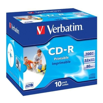 Disk Verbatim Printable CD-R DLP 700MB/80min. 52x, jewel box, 10ks