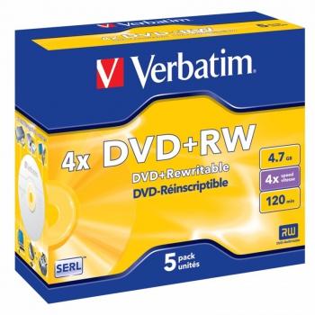 Disk Verbatim DVD+RW 4,7GB, 4x, jewel box, 5ks