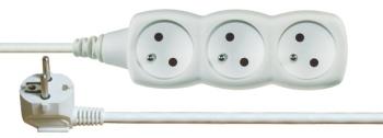 Kabel prodlužovací EMOS 3x zásuvka, 3m bílý