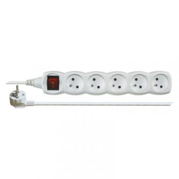 Kabel prodlužovací EMOS 5x zásuvka, 2m, vypínač bílý