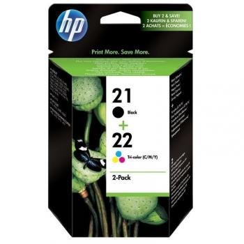 Inkoustová náplň HP No. 21+22, 2 pack, 190/165 stran - originální černá